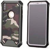 P.C.K. Army/Leger/Camouflage Backcover/Achterkant groen geschikt voor Apple iPhone 8 MET GLASFOLIE