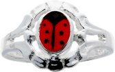 Classics&More - Zilveren Ring - Maat 50 - Lieveheersbeestje