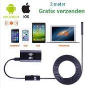 Gratis verzenden WiFi Endoscoop HD LED | Mini Camera met 3 meter  Kabel - 8 mm kop | Waterdichte inspectie camera met LED Verlichting / Voor Mobiel/ Tablet / Laptop/Saizi