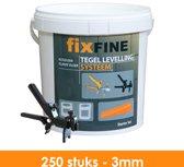 Tegel Levelling Systeem - Nivelleersysteem - Starter Set - 250 stuks – 3mm