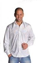 Glitter disco overhemd wit 56-58 (l)