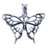 Zilveren Vlinder opengewerkt ketting hanger