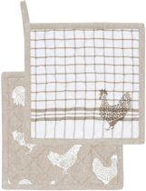 Clayre & Eef - Katoenen Pannenlap - Landelijk met Kippen & Hanen motief - 20 x 20 cm