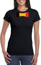 Zwart t-shirt met Belgie vlag strikje dames L