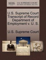 U.S. Supreme Court Transcript of Record Department of Employment V. U. S.