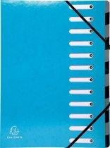 4x Exacompta Iderama sorteermap, 12 vakken, met elastosluiting, lichtblauw