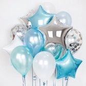 Luxe Ballonnen Blauw Wit Zilver Confetti - 11 stuks Folieballonnen Ster Ballon Party Feest