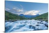 Het Amfitheater Drakensbergen en de De Tugela-rivier in Zuid-Afrika Aluminium 180x120 cm - Foto print op Aluminium (metaal wanddecoratie) XXL / Groot formaat!