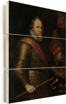 Portret van Maurits - Schilderij van Michiel Jansz van Mierevelt Vurenhout met planken 120x160 cm - Foto print op Hout (Wanddecoratie) XXL / Groot formaat!