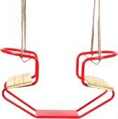 Swing King schommelzitje duozit rood - metaal/hout