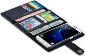 Samsung Galaxy S7 Echt Leren Jumbo Portemonnee Hoesje Zwart