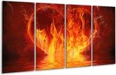 Glasschilderij Abstract | Oranje, Bruin, Zwart | 160x80cm 4Luik | Foto print op Glas |  F002889