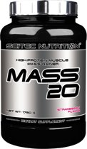 Scitec Nutrition - Mass 20 - High-protein muscle mass gainer - 1750 g - 35 porties - poeder - Aardbei - Strawberry + gratis sportandmore shaker