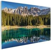 Dolomieten Lago Carezza Italië Glas 120x80 cm - Foto print op Glas (Plexiglas wanddecoratie)