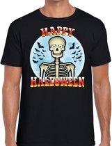 Happy Halloween verkleed t-shirt zwart voor heren - horror skelet/vleermuizen shirt / kleding / kostuum M