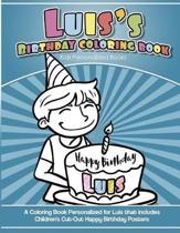 Luis' Birthday Coloring Book Kids Personalized Books