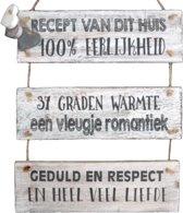 """Wandborden Hout Spreukbord """"recept van dit huis"""" Woondecoratie Cadeau Verjaardag"""