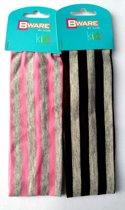 Bware Kids Haarband gestreept Roze/Grijs of Donkerbruin/grijs