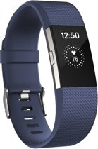 Fitbit Charge 2 siliconen bandje |Navy Blauw / Navy Blue |Square patroon | Premium kwaliteit | Maat: S/M | TrendParts