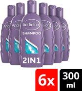 Andrélon 2 In 1  Shampoo - 6 x 300 ml - Voordeelverpakking
