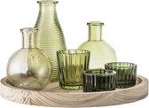 Bloomingville - Waxinelichtjes - Glas/Hout set van 7 - Groen - 25xH15.5 cm
