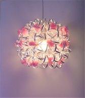 Funnylight Vrolijk zilver - design hanglamp met roze bloemen