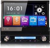1din autoradio met klapscherm navigatie, DVD-speler, AUX, USB en Bluetooth-interface voor
