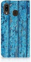 Samsung Galaxy A30 Book Wallet Case Blauw Wood