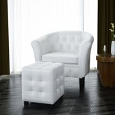 vidaXL - Chesterfield - Fauteuil - Met arm - Wit - Met Hocker