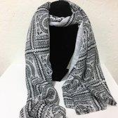 Fashionidea - Mooie ivoorkleurige zijde zachte sjaal met zwarte fantasie prints.