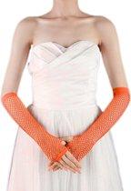Vingerloze handschoen Net Neon Oranje lang