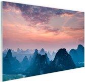 Berg horizon Glas 60x40 cm - Foto print op Glas (Plexiglas wanddecoratie)
