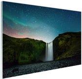 IJslandse waterval bij nacht Glas 30x20 cm - Foto print op Glas (Plexiglas wanddecoratie)