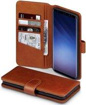 Hoesje voor Samsung Galaxy S9 Plus (S9+), echt lederen 3-in-1 bookcase, cognac bruin