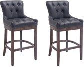 Clp Buckingham - Set van 2 barkrukken - Lederen bekleding - zwart Onderstel : antiek