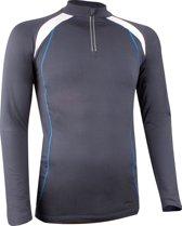 Avento Sportshirt Lange Mouw - Dik Materiaal - Antraciet/Wit/Kobalt - L