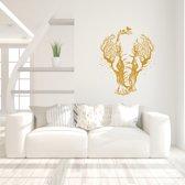 Muursticker Olifant In Bomen -  Goud -  60 x 73 cm  - Muursticker4Sale