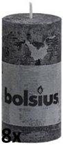 Bolsius Rustiek Stompkaars - 100/50 mm - 8 stuks - Antraciet