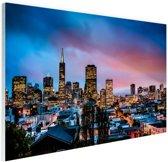 Skyline bij nacht Glas 30x20 cm - Foto print op Glas (Plexiglas wanddecoratie)