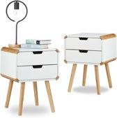 relaxdays 2 x nachtkastje 2 lades wit - Scandinavische design hout – nachttafel