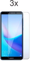 Huawei Y5 (2018) Screenprotector Glas - Tempered Glass Screen Protector - 3x - LuxeRoyal
