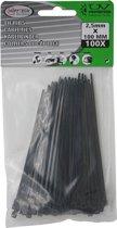 Kabelbinders - Tie ribs - Tie wraps - Ty Raps - 100 x 2,5 mm - zwart - 100 Stuks