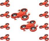 relaxdays 10 x Fidget Spinner in rood - hand spinner - hoge kwaliteit - tri-bar - 10 stuks