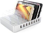Mobigear Multi Dock 8 USB Poorten Laadstation Zilver