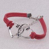 Sieraden - Armband - Hartje - Rood - Zilverkleurig - 22cm