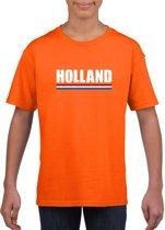 Oranje Holland supporter shirt kinderen - Oranje fan/ supporter kleding S (122-128)
