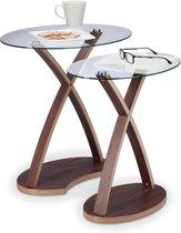 relaxdays Bijzettafel glas in set van 2 - glastafel - ovaal - salontafel - klein tafeltje