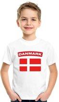 Denemarken t-shirt met Deense vlag wit kinderen XS (110-116)