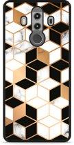 Huawei Mate 10 Pro Hardcase Hoesje Black-white-gold Marble