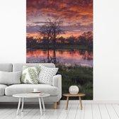 Fotobehang vinyl - Moeras en bomen in de schemering in het Nationaal park Chobe breedte 150 cm x hoogte 220 cm - Foto print op behang (in 7 formaten beschikbaar)